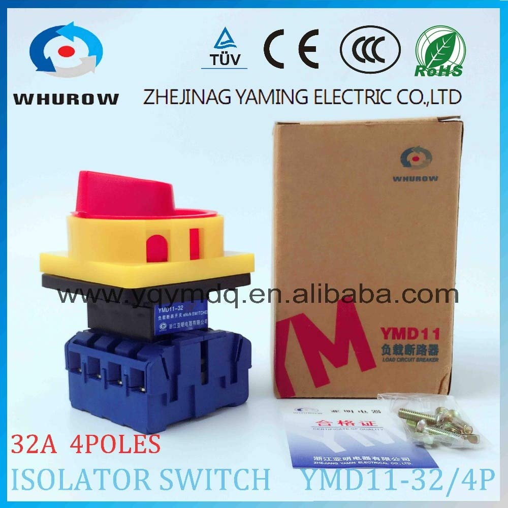 Isolator Switch YMD1132A 4P Load Break Switch Universal Power Cut Off Switch onOff Changeover cam Switch 8 Sliver Contacts