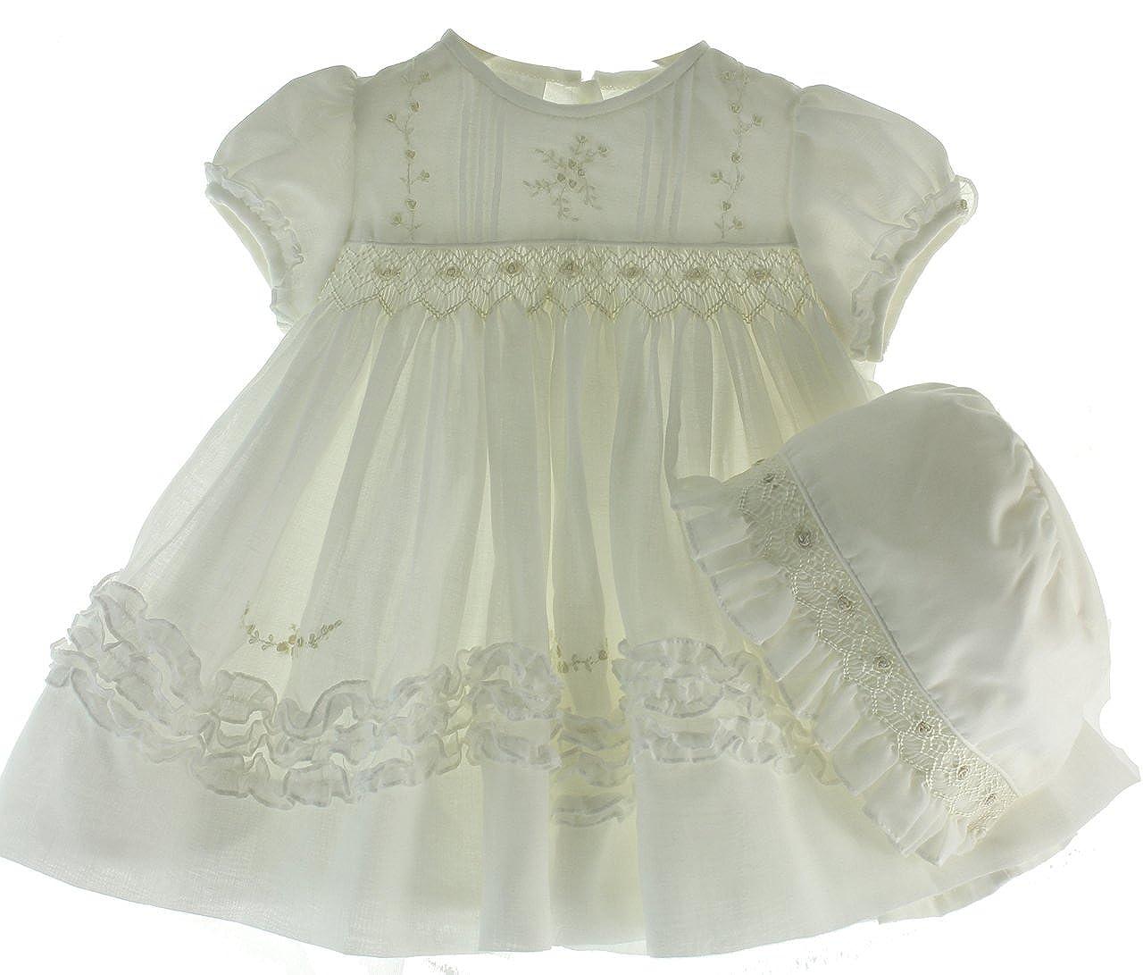 f0952f1d4c4e Amazon.com: Girls Ivory Heirloom Christening Dress & Bonnet Set Sarah  Louise Baby Clothes: Clothing