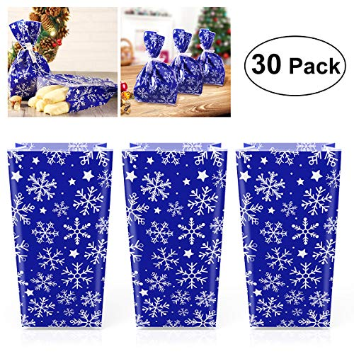 30Pcs Christmas Snowflake Cellophane Gift Goody Bags with Ribbon Ties Christmas Party Favor Treat Bags