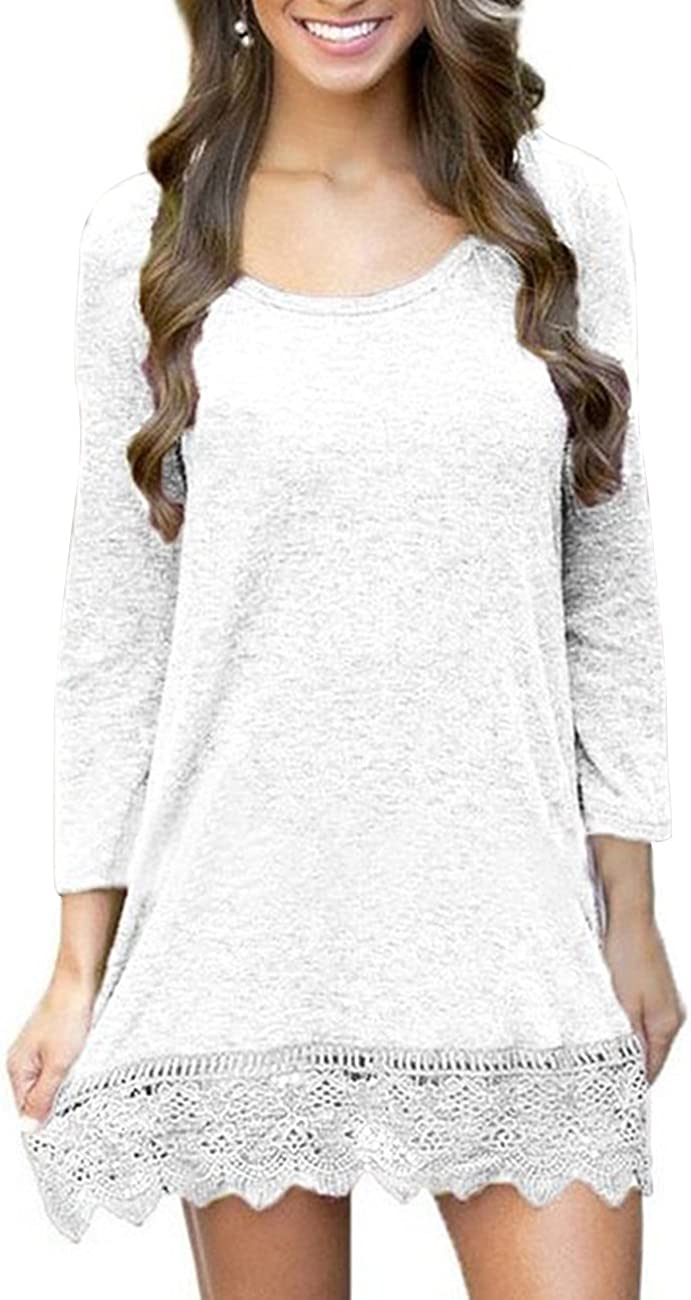 Women's Long Sleeve A-Line Lace Stitching Trim Casual Dress Tunic Top Blouse