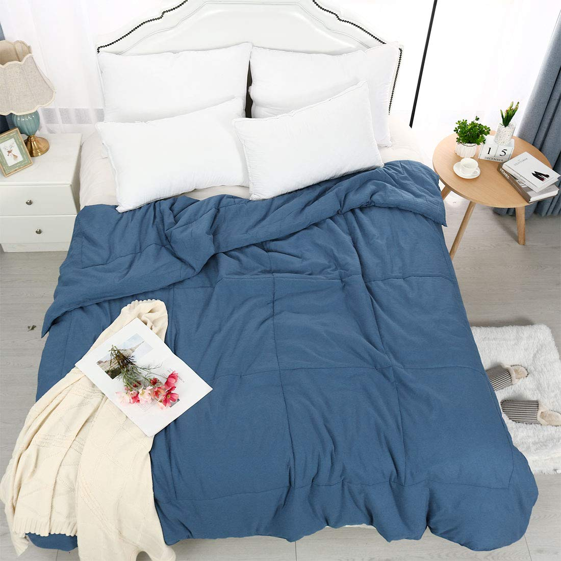 PiccoCasa Twin Blue 100% Washed Cotton Quilted Comforter - Duvet Insert/Stand Along Comforter - Reversible Design - Machine Washable - 68 by 88 inches by PiccoCasa (Image #4)