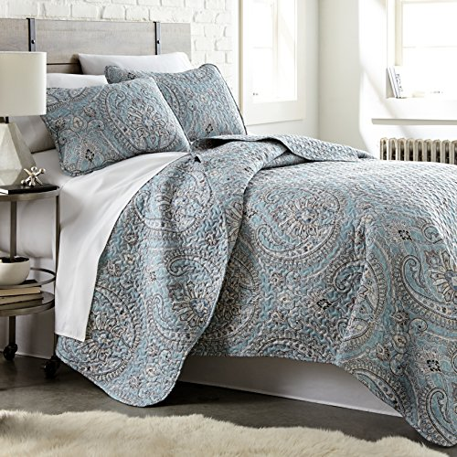 Southshore Fine Linens - The Pure Melody Collection - Quilts Sets, 3 Piece Set, Full/Queen, Aqua (Queen Quilt Sets)