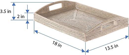 KOUBOO 1020043 La Jolla Rattan Rectangular Serving Tray White Wash 18 x 13.5 x 3.5