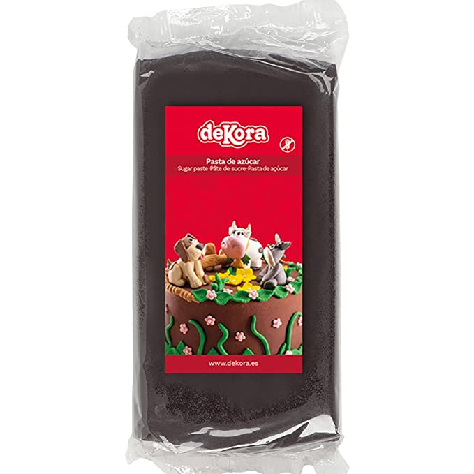 Dekora - Cobertura para Tartas de Fondant de Color Negro - 3 de 250 gr