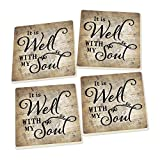 It Is Well With My Soul Script Design Set of 4 Ceramic Coaster Pack