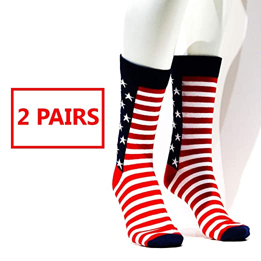 Much Of White America Is Perfectly >> Amazon Com 2 Patriotic Us Usa America American Flag Dress Socks For