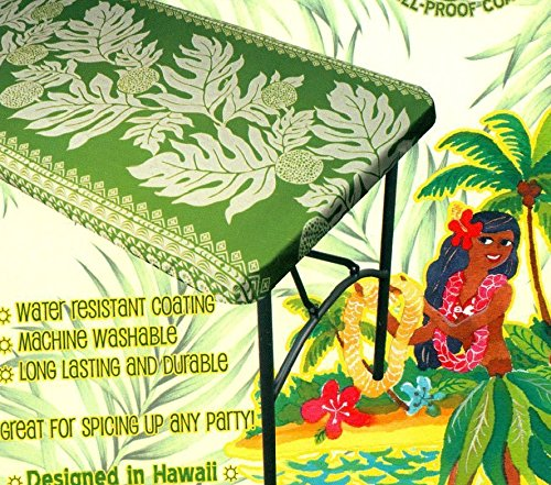 Hawaiian Tropical fitted Tablecloth (Fits 8 feet picnic tables 96'' x 30'', spicing up any party) green by Kauhale Living