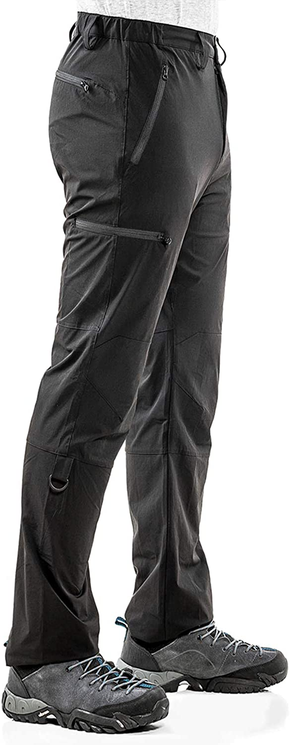 Wespornow Mens-Hiking-Pants Quick Dry Lightweight Stretchy Outdoor Camping Travel Pants Trousers with 5 Zipper Pockets