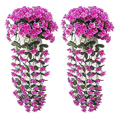 Evoio Artificial Violet Ivy Flowers, 2PCS DIY Hanging Basket Garland Wedding Wall Ratta Silk String Floral Decoration (Purple)