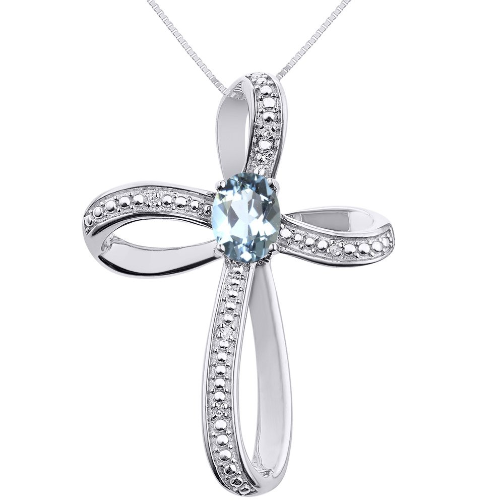 Diamond & Aquamarine Cross Pendant Necklace Set In Sterling Silver .925
