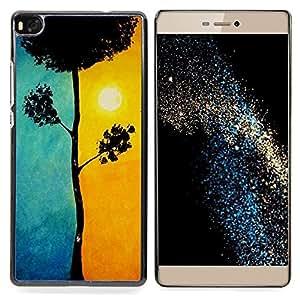"""For Huawei Ascend P8 (Not for P8 Lite) Case , Hermosa Blue Sun Orange Tree Naturaleza"""" - Diseño Patrón Teléfono Caso Cubierta Case Bumper Duro Protección Case Cover Funda"""