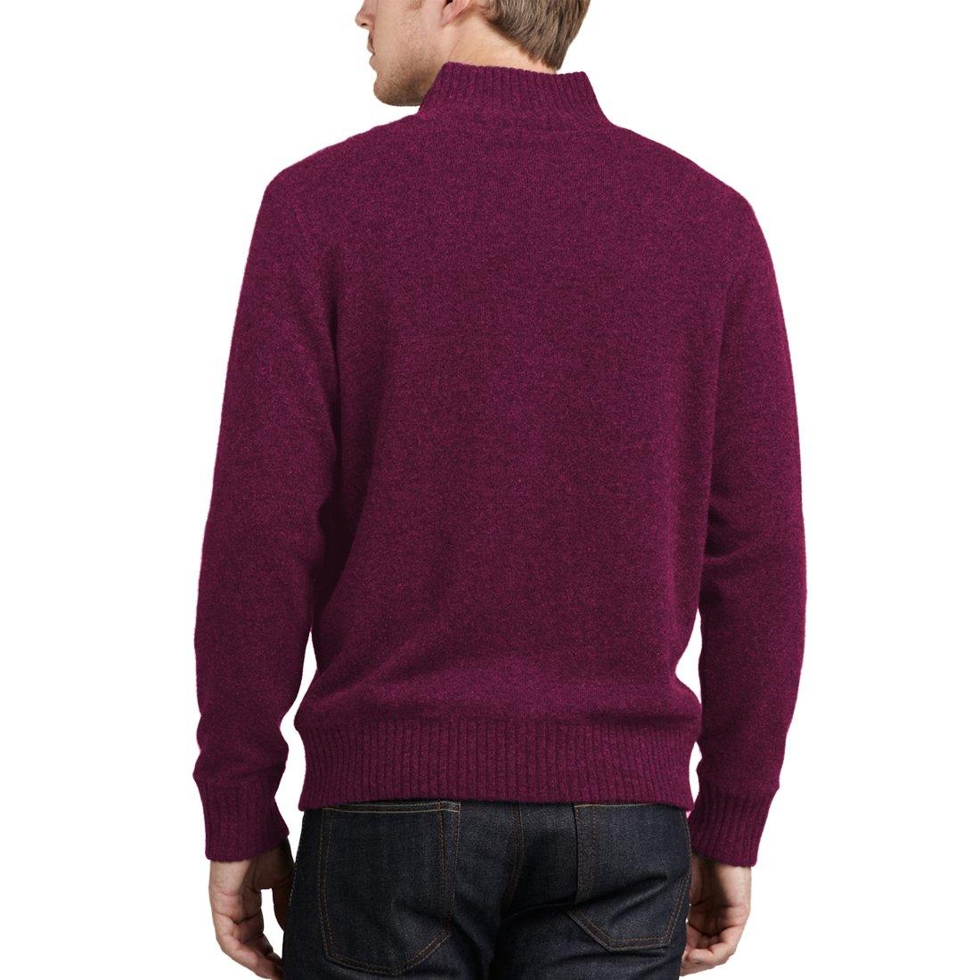 Parisbonbon Men's 100% Cashmere Mock Neck Cardigan Color Burgundy Size 1X by Parisbonbon (Image #2)