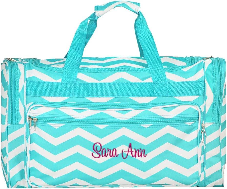 "Personalized Aqua Chevron Overnight Duffle Bag 22"""