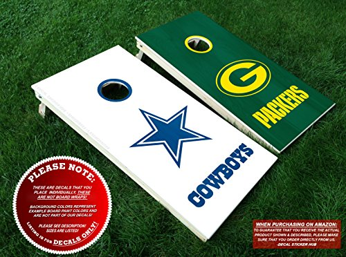 Dallas Cowboys and Green Bay Packers Cornhole Decals | COLOR CHOICE | Six (6) Vinyl Decals for DIY Board Building & Decorating | Decal Sticker ()
