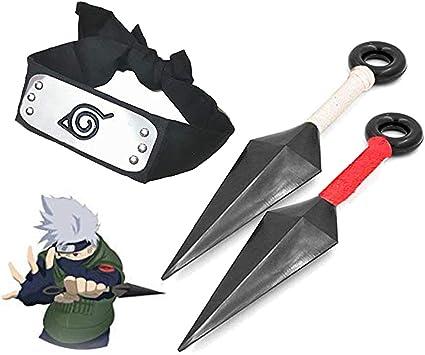 Anime Naruto Leaf Village Ninja Kunai /& Headband Cosplay Red