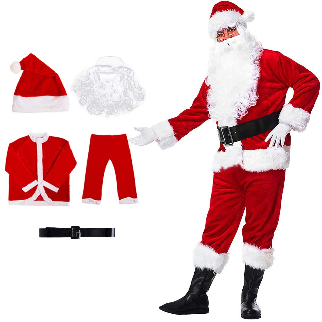 Christmas Claus Costume Velvet Deluxe Santa Men's Set Suit Red