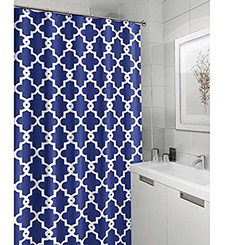 Crystal Emotion Extra Long Geometric Patterned Shower Curtain - BULE