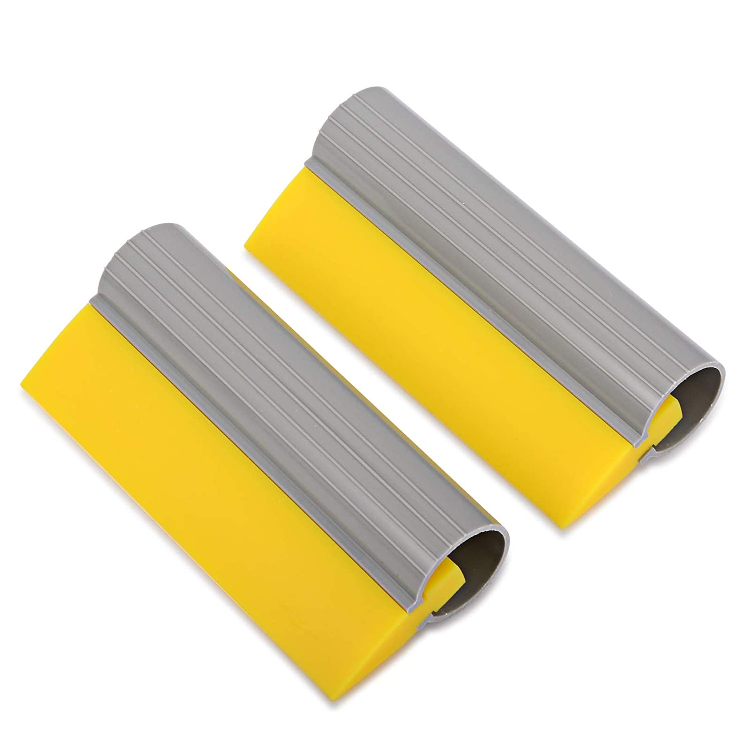 Pack of 2 WINJUN Window Film Installing Soft Rubber Blade Squeegee with Non-Slip Tube Handle for Car Vinyl Wraps and Household Water Clean