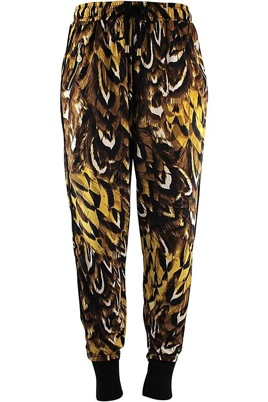 Luxury Divas Cheetah Feather Print Jogger Pants