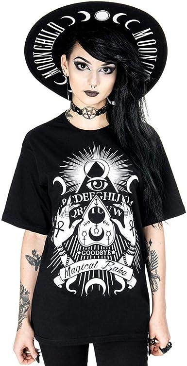 Restyle Magical Babe T-Shirt Short Sleeve Gothic Occult Dark Fashion Unisex Black Cotton Oversized Tee