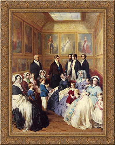 Queen Victoria and Prince Albert with the Family of King Louis Philippe at the Chateau D'Eu 20x23 Gold Ornate Wood Framed Canvas Art by Winterhalter, Franz Xavier ()