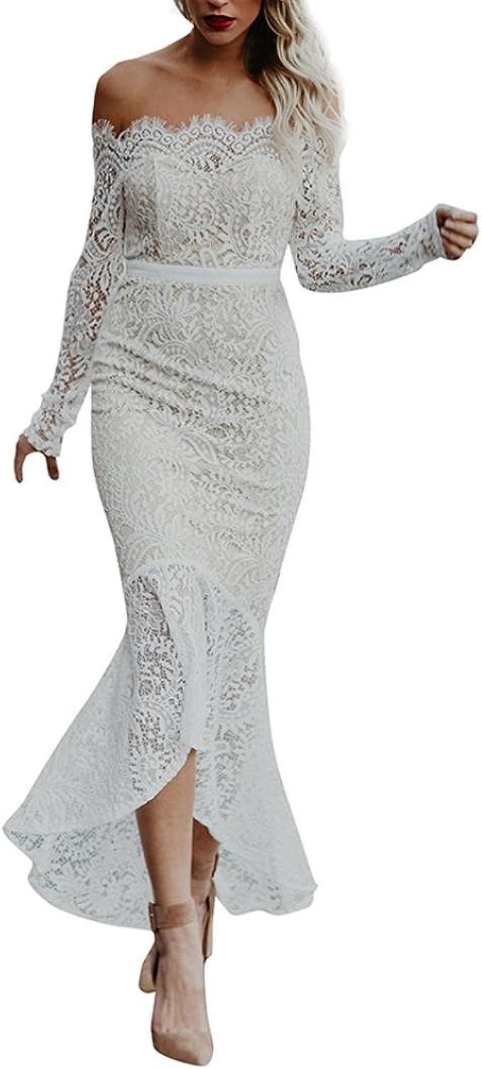 Longra Damen Kleider Spitzenkleid Schulterfrei Kleid Damen Maxi Lang Kleid Fur Frauen Kleider Hochzeit Festlich Brautjungfer Elegante Abendkleid Cocktailkleid Partykleid Rockabilly Kleid Amazon De Bekleidung