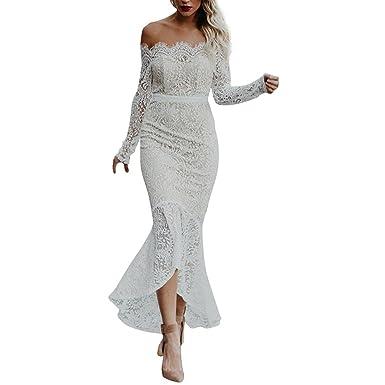 Longra Damen Kleider Spitzenkleid Schulterfrei Kleid Damen Maxi Lang ...