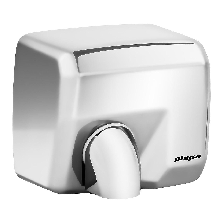 Physa Asciugamani Elettrico Automatico Asciugatore Mani da Bagno VELLA SILVER (Tempo di asciugatura max. 15 s, 6000 rpm, Velocità del getto d'aria 35 m/s, Volume dell'aria 270 m³/h) Velocità del getto d'aria 35 m/s