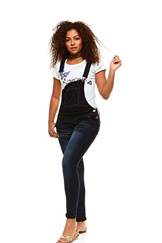 V.I.P.JEANS Casual Blue Jean Bib Strap Pocket Overalls for Women Ankle Length Slim Fit Junior Size 13 Whisker Dark Wash