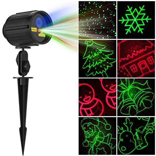 Laser Light Christmas Laser Show Halloween Projector with RF Wireless Remote RED GREEN 8 Patterns BLUE LED Light IP65 Waterproof for Xmas, Holiday, Parties, Landscape and Garden Decoration