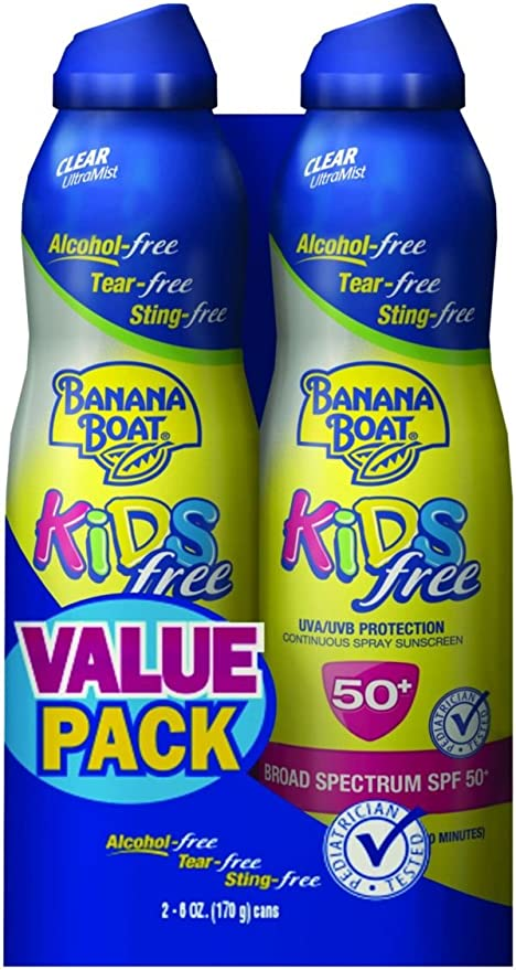 Banana Boat Kids Ultra Mist Tear de Free Sting Free Twin Pack Sunstech creen Spray SPF 50, 12 Ounce (Pack of 6) by Banana Boat: Amazon.es: Belleza
