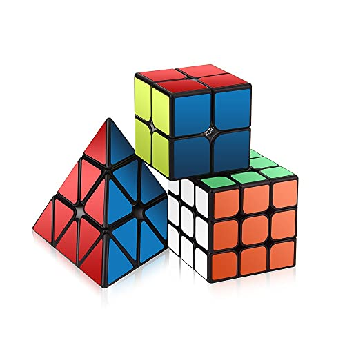 Speed Cube Set, Roxenda Magic Cube Set of 2x2x2 3x3x3 Pyramid Cube Smooth Puzzle Cube