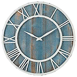 Oldtown Farmhouse Metal & Solid Wood Noiseless Wall Clock (Coastal Blue, 18-inch)