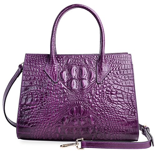 PIJUSHI Women Handbags Top Handle Satchel Leather Tote Bags for Ladies 8890(One Size, Violet Croco) by PIJUSHI