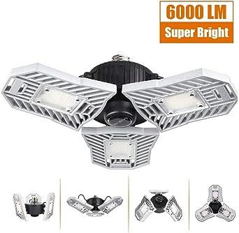 6000LM LED Garage Lights 60W Lighting Shop Adjustable 6000K Ceiling Fixtures