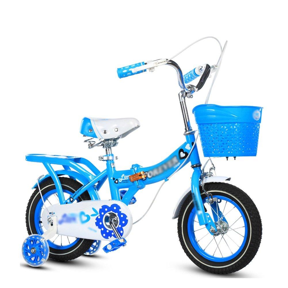 キッズバイクボーイズ子供用自転車折りたたみベビーカー女の子プリンセスモデル3-10歳青紫12 14 16 18インチ B07DV1XQLT 14 inch|青 青 14 inch