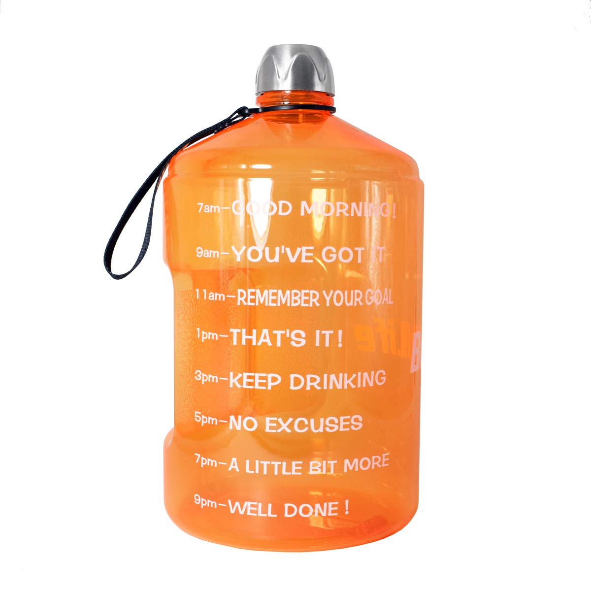 BuildLife 1 Gallon Water Bottle Motivational Fitness Workout with Time Marker  Drink More Water Daily   Clear BPA-Free   Large 128 Ounce/43OZ of Water Throughout The Day (1 Gallon-Orange, 1 Gallon)