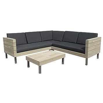 Amazon.de: OUTLIV. Loungemöbel Holz Zeeland Loungeset 4tlg. Alu ...