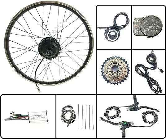 GJZhuan Eléctricos de la conversión de Bicicletas Juego de Ruedas traseras giran 48V350W Cubo del Motor eléctrico de la Bicicleta con KT LED900S Display Kit EBike,700C LED Sets: Amazon.es: Hogar