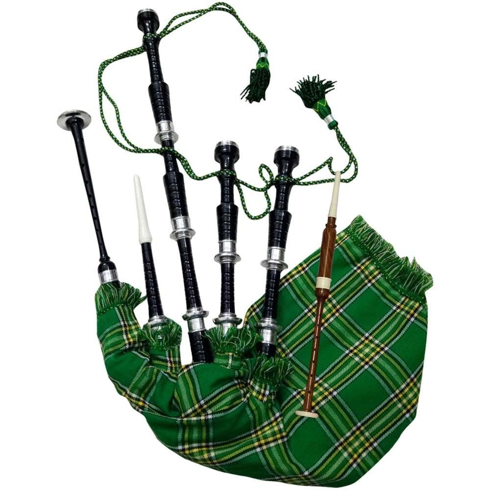 AAR Scottish Bagpipe Rosewood Royal Stewart Tartan Black Finish with Silver Plain Mounts Free Tutor Book, Carrying Bag, Drone, Reeds