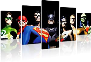 FUNHUA Justice League Canvas Painting with Wooden Framed 5 Panel DC Art Print for Living Room Home Wall Decor Ready to Hang