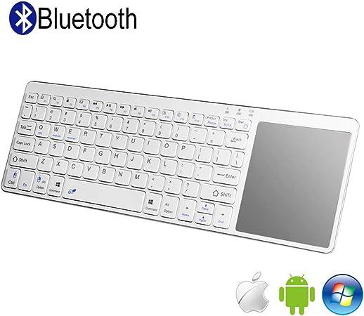 Teclado Inalámbrico Bluetooth con Multi-touchpad QWERTY, All-in-One Media Ultra-Slim Teclado con Ratón Tactil para Smart TV, Tablets, Raspberry Pi 3, ...