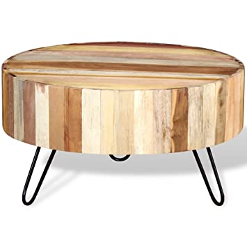 Festnight Solid Reclaimed Wood Round Coffee Table Side End Lamp