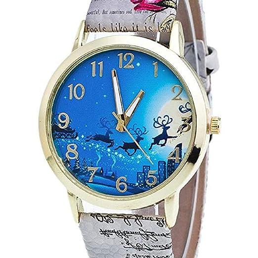 Scpink Mujeres Elk Patrón de Navidad Analog Ladies Relojes de Pulsera Relojes de niña Relojes Femeninos de Cuero (Gris): Amazon.es: Relojes