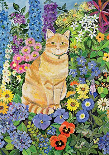 Toland Home Garden Flower Cat 12.5 x 18 Inch Decorative Colo