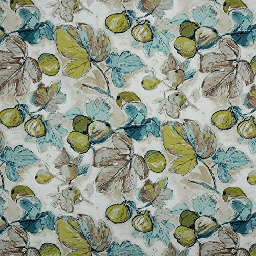 Teal Blue Green Contemporary Floral Print Upholstery Fabric by The ()