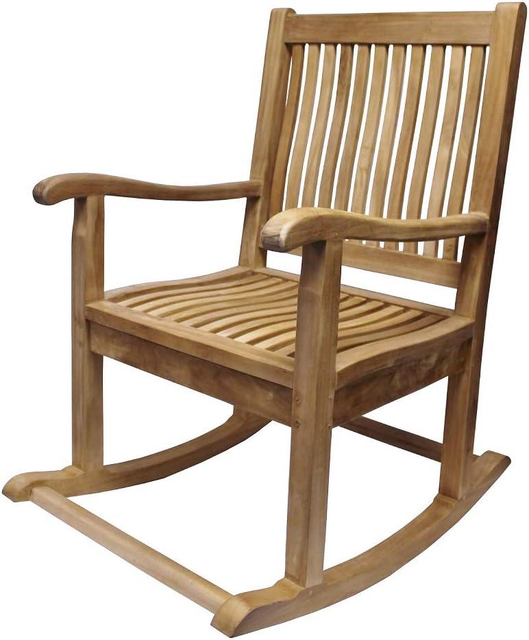 Vollwaren Teak Rocking Chair with Armrests Garden Chair 19 kg Rocking Chair