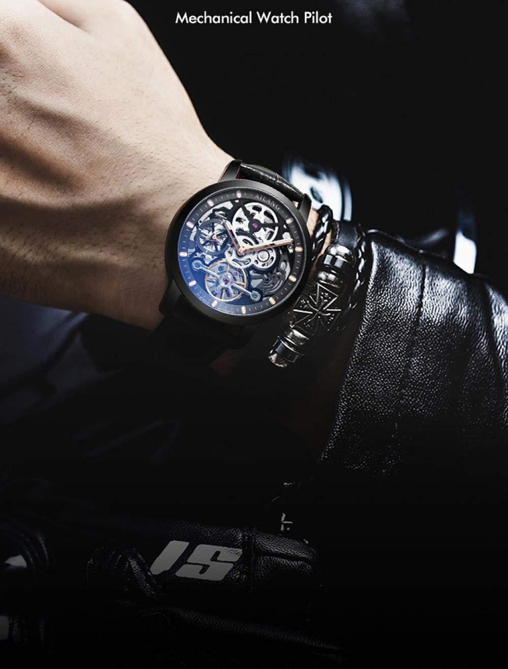 Mode affärer herrklocka automatisk mekanisk turbillon klocka Silver Shell Blue Surface