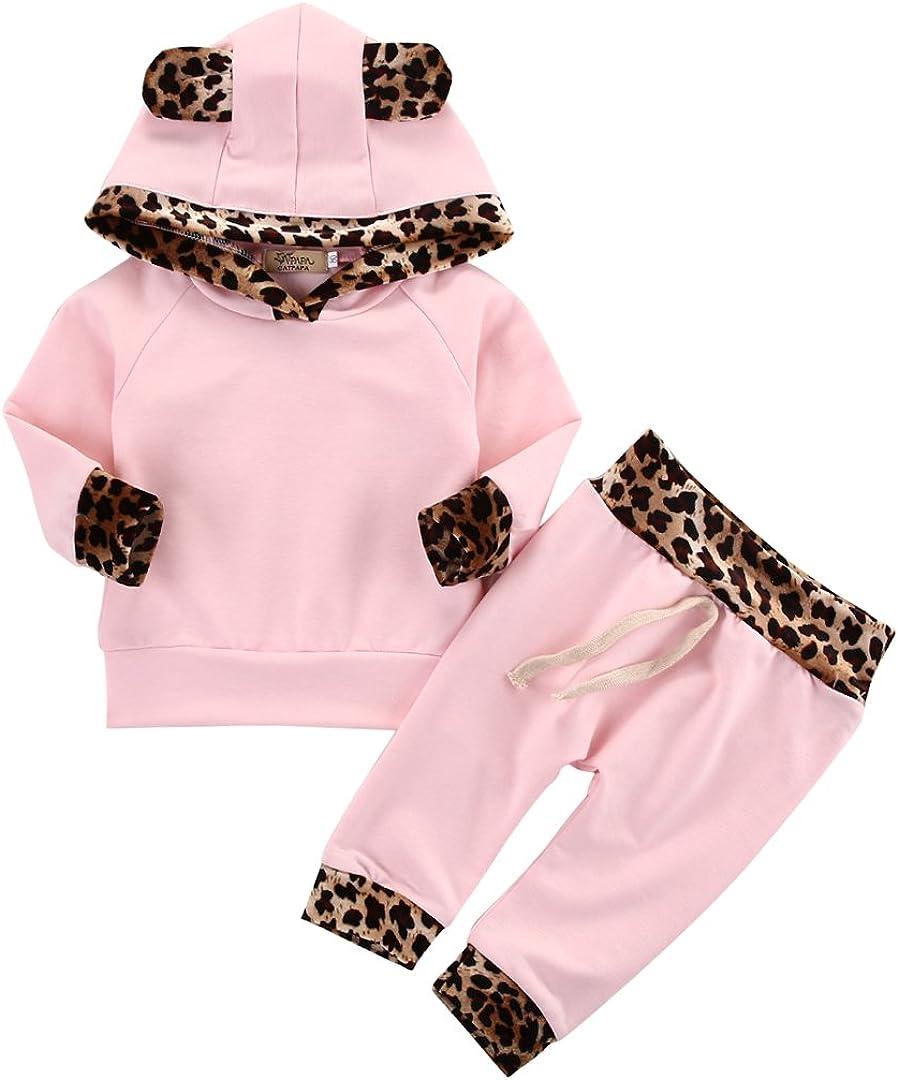 Neugeborenes Baby M/ädchen Warm Hoodie T-Shirt Top Hose Outfits Set Kleidung Set