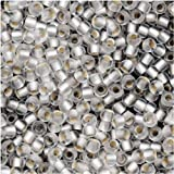 Toho Round Seed Beads 11/0 #21F 'Silver Lined Frosted Crystal' 8 Gram Tube
